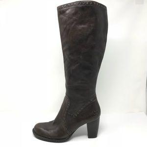 Born Sz 8.5 Tatiana Heeled Brown Leather Boots